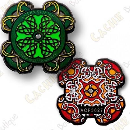 """Geocoin """"Celtic lucky clover"""""""