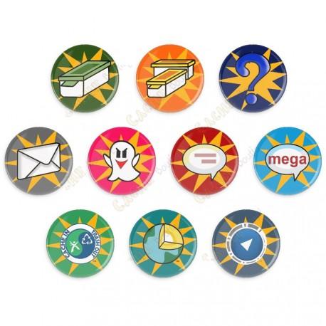 Badges Cache Icon - Lot de 10