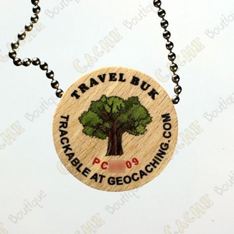 Travel Buk - Géocoin en bois