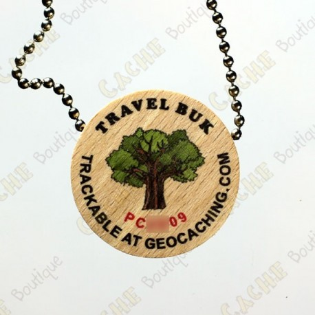 Travel Buk - Wooden geocoin