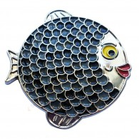"Géocoin ""Rainbow Fish"" - Dark on White Silver LE"