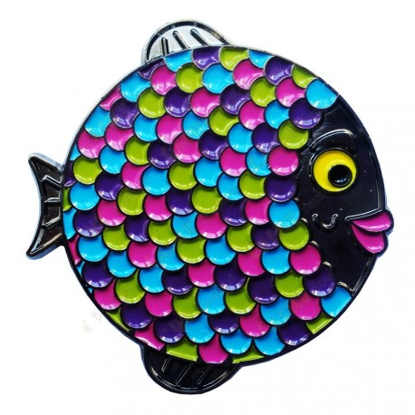 "Geocoin ""Rainbow Fish"" - Neon Black Nickel LE"