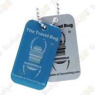Travel bug officiel Groundspeak de couleuravec QR code au dos.