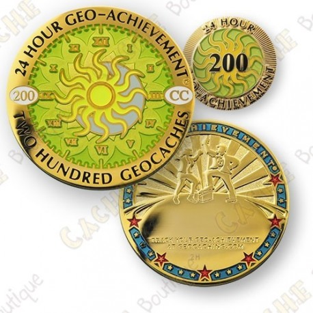 Geo Achievement® 24 Hours 200 Caches - Coin + Pin's