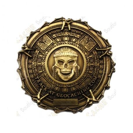 """Geocoin """"Pirate Bones"""" - Antique Gold"""