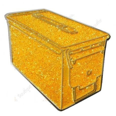 """Geocoin """"Ammo Can"""" - Glitter Gold"""