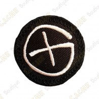 Geocaching round patch - Black / White