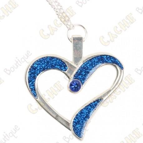 """Geocoin Necklace """"Eternal Love"""" - Blue / Silver"""
