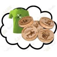 T-shirt + Géocoins en bois personnalisés x 50
