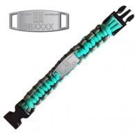 Bracelete Paracord Trackable - Geocaching - Turquesa / Cinza - Presale