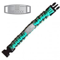 Trackable Paracord Bracelet - Geocaching - Aqua / Grey - Presale