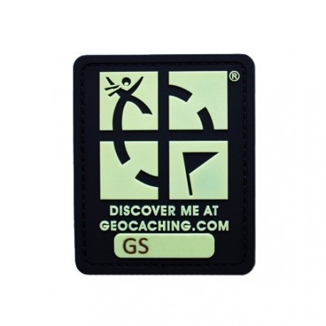 Black Geocaching Logo Trackable Patch - Glow in the dark