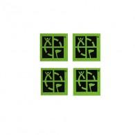 Lote de 4 mini stickers con el logo oficial del geocaching sobre fondo verde.