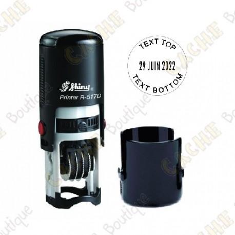 Sello redondo fechador personalizable - 17mm