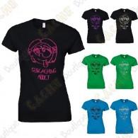 """Camiseta """"Geocaching Addict"""" purpurina Mujer"""