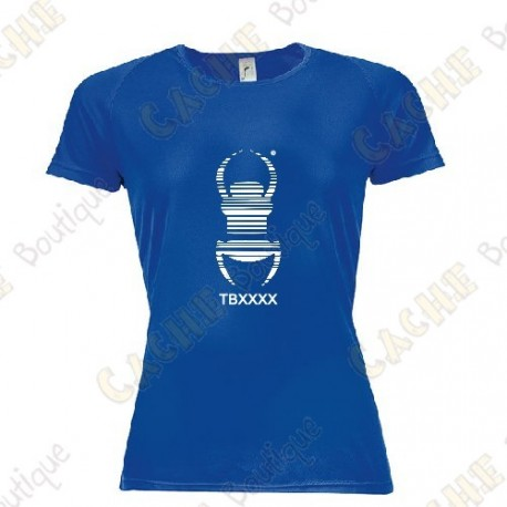 "Camiseta técnica trackable ""Travel Bug"" Mujer - Negra"