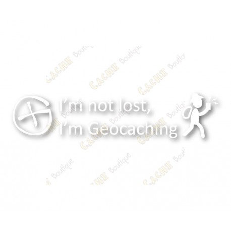 """I'm not lost, I'm Geocaching"" window cling"