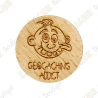 Géocoin en bois - Geocaching Addict Boy