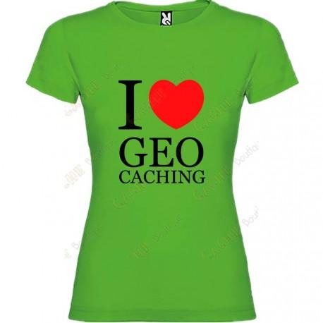 "T-shirt ""I love Geocaching"" Mulher"