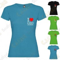 """I love Geocaching"" breast T-shirt for Women"
