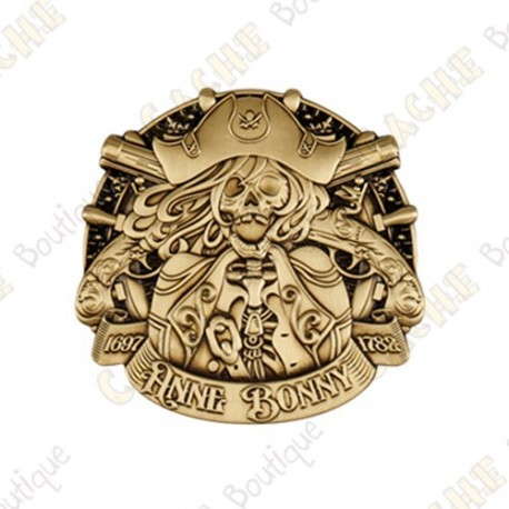 """Geocoin """"Pirate Doubloon"""" - Antique Gold"""