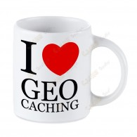 Taza Geocaching blanca - I love Geocaching