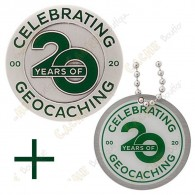 "Geocoin ""20 Years of Geocaching"" + Tag"