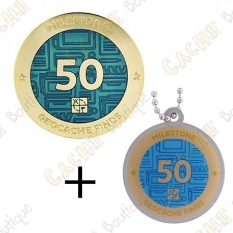 "Geocoin + Travel Tag ""Milestone"" - 50 Finds"