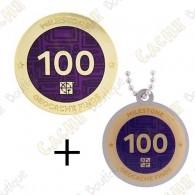 "Geocoin + Traveler ""Milestone"" - 100 Finds"