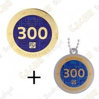 "Geocoin + Travel Tag ""Milestone"" - 300 Finds"