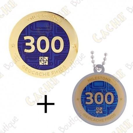 "Geocoin + Travel Tag ""Milestone"" - 300 Finds"