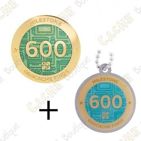 "Geocoin + Travel Tag ""Milestone"" - 600 Finds"