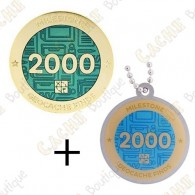 "Geocoin + Travel Tag ""Milestone"" - 2000 Finds"