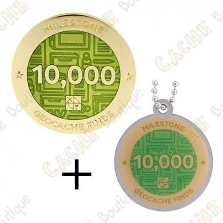 "Geocoin + Travel Tag ""Milestone"" - 10 000 Finds"
