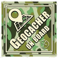 """Camouflage """"Geocacher on board"""" car cling"""
