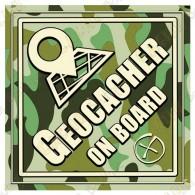 """Sticker """"Geocacher on board"""""""